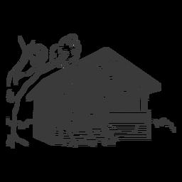Casa de bambú dibujado