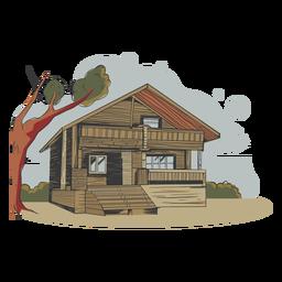 Ilustración casa hecha de bambú