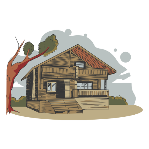 Illustration house bamboo made
