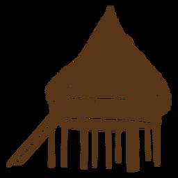 Silhueta de cabana de praia grande
