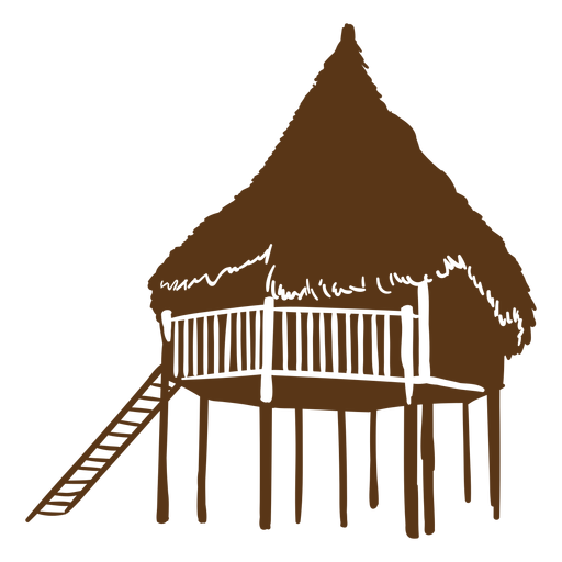 Silueta de cabaña de playa grande Transparent PNG