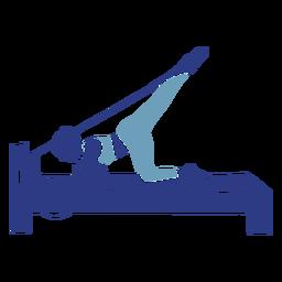 Silueta de reformador de pilates estiramiento de piernas