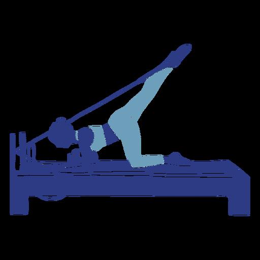 Silueta de reformador de pilates estiramiento de piernas Transparent PNG
