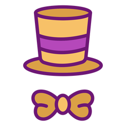 Magician hat bow colored