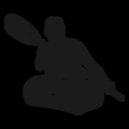 Silueta de kayak de hombre