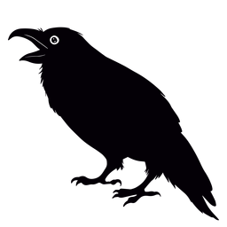 Boca abierta pájaro cuervo
