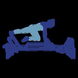Silueta de estiramiento de pierna Pilates reformer