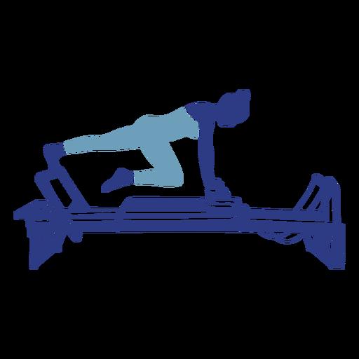 Silueta de estiramiento de pierna Pilates reformer Transparent PNG