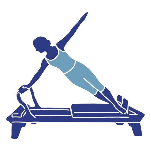 Silueta lateral del reformador de Pilates