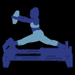 Pilates reformer split silhouette