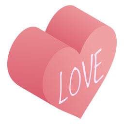 Corazón rosa amor isométrico