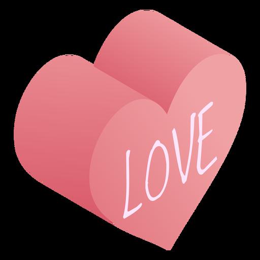 Pink heart love isometric
