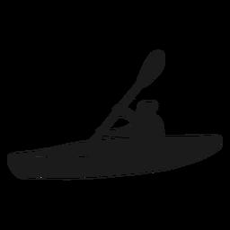 Silhueta de caiaque de vista lateral