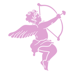 Silhueta apontando o personagem Cupido