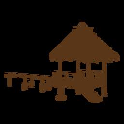 Playa de cabaña de bambú de silueta