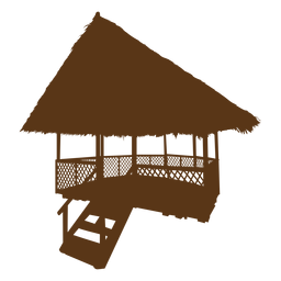 Silhouette beach hut bamboo