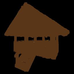 Silueta de cabaña de playa de bambú