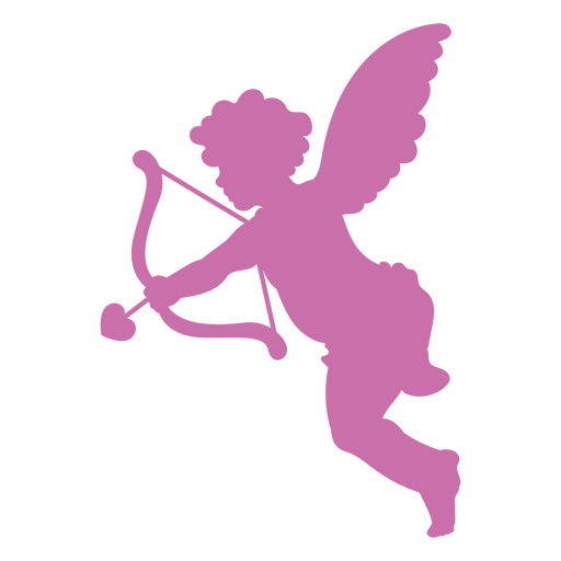 Silhouette cupid shooting arrow Transparent PNG