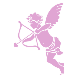 Silhouette cute cupid pose