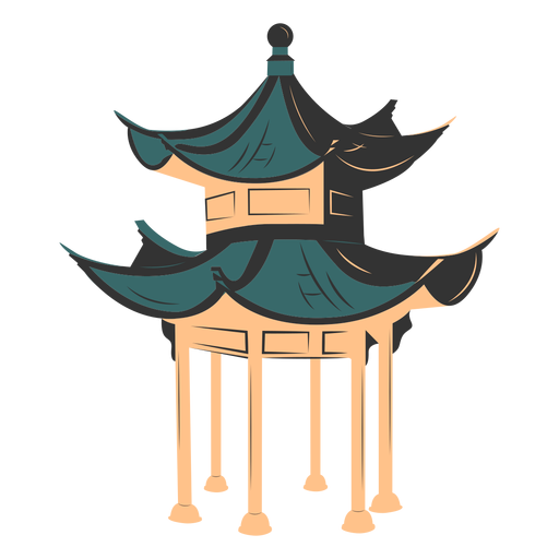 Tall chinese architecture colored Transparent PNG