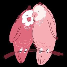 Casal de pássaros fofos dos namorados