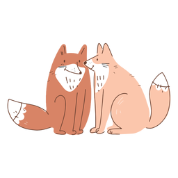 Valentine foxes couple