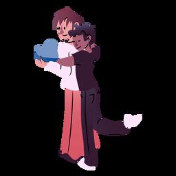 Casal de namorados abraçando isométrica