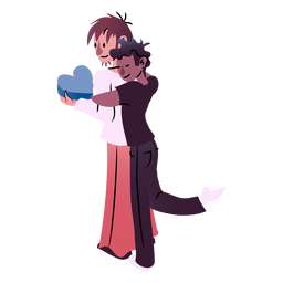 Valentines couple hugging isometric