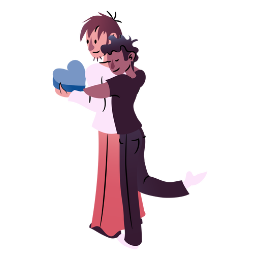 Valentines couple hugging isometric Transparent PNG