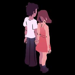Dia dos namorados casal vista traseira isométrica