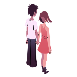 Valentines couple isometric back view