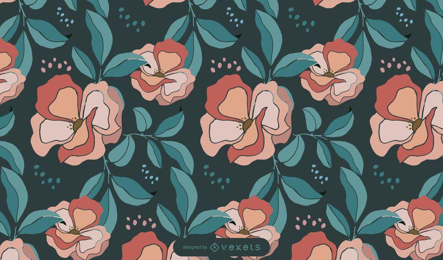 Floral dark pattern design