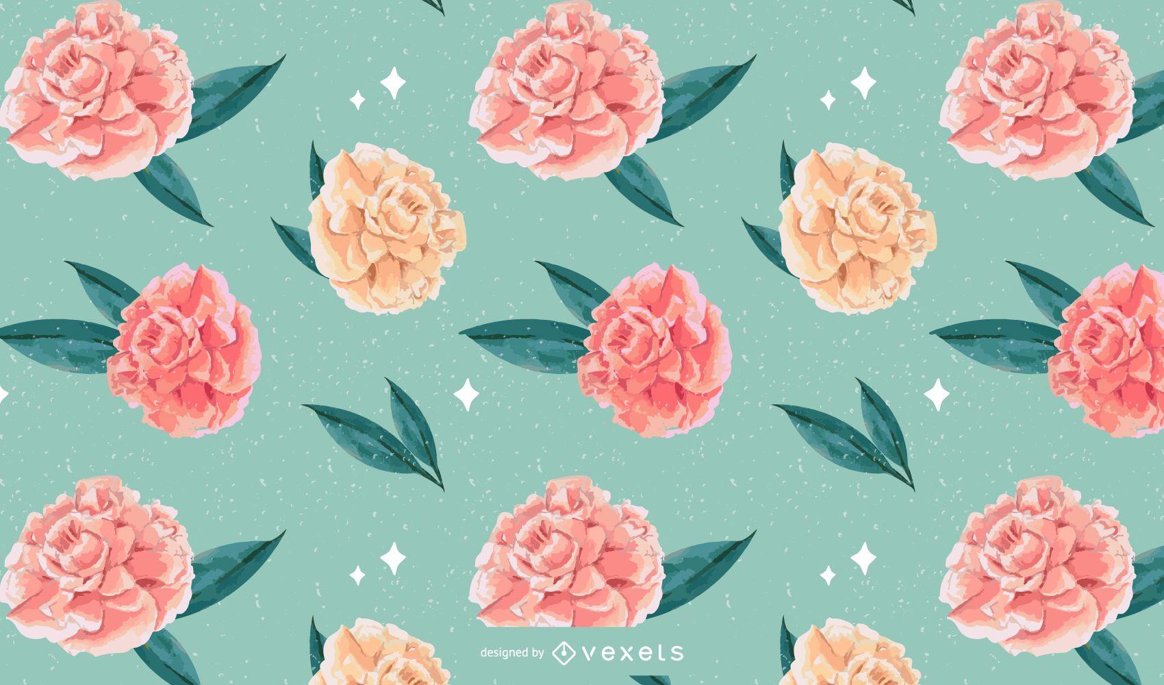 Diseño de patrón de acuarela floral