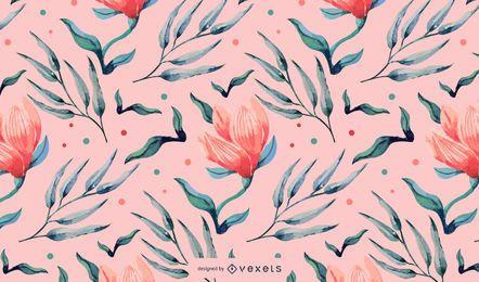 Desenho floral rosa aquarela