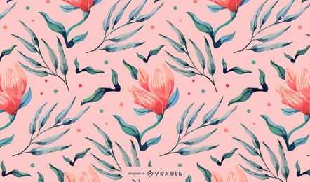 Diseño floral rosa acuarela