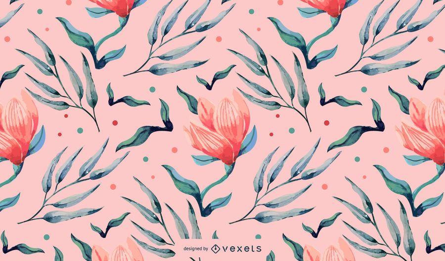 Floral pink watercolor pattern design
