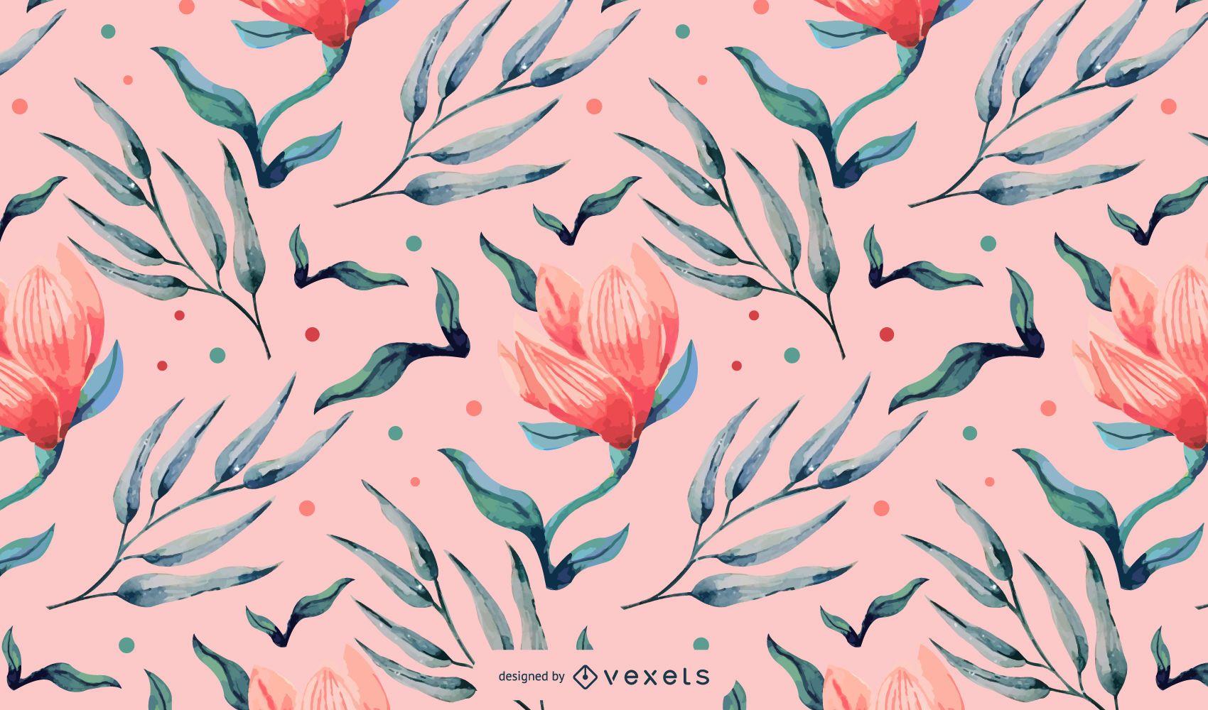 Diseño floral de patrón de acuarela rosa