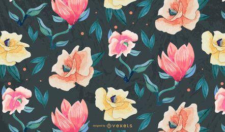 Design de flores em aquarela padrão