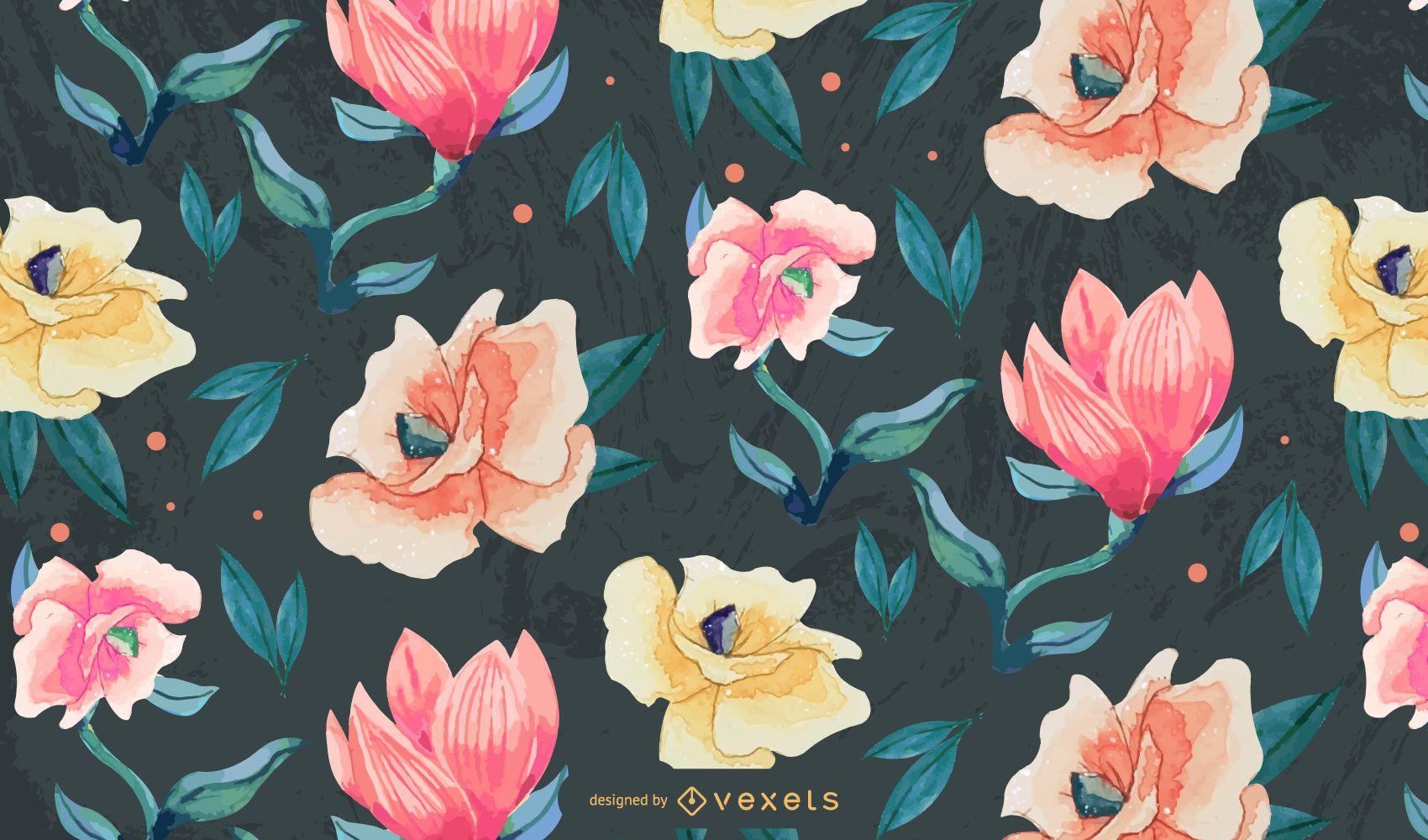 Flowers watercolor pattern design