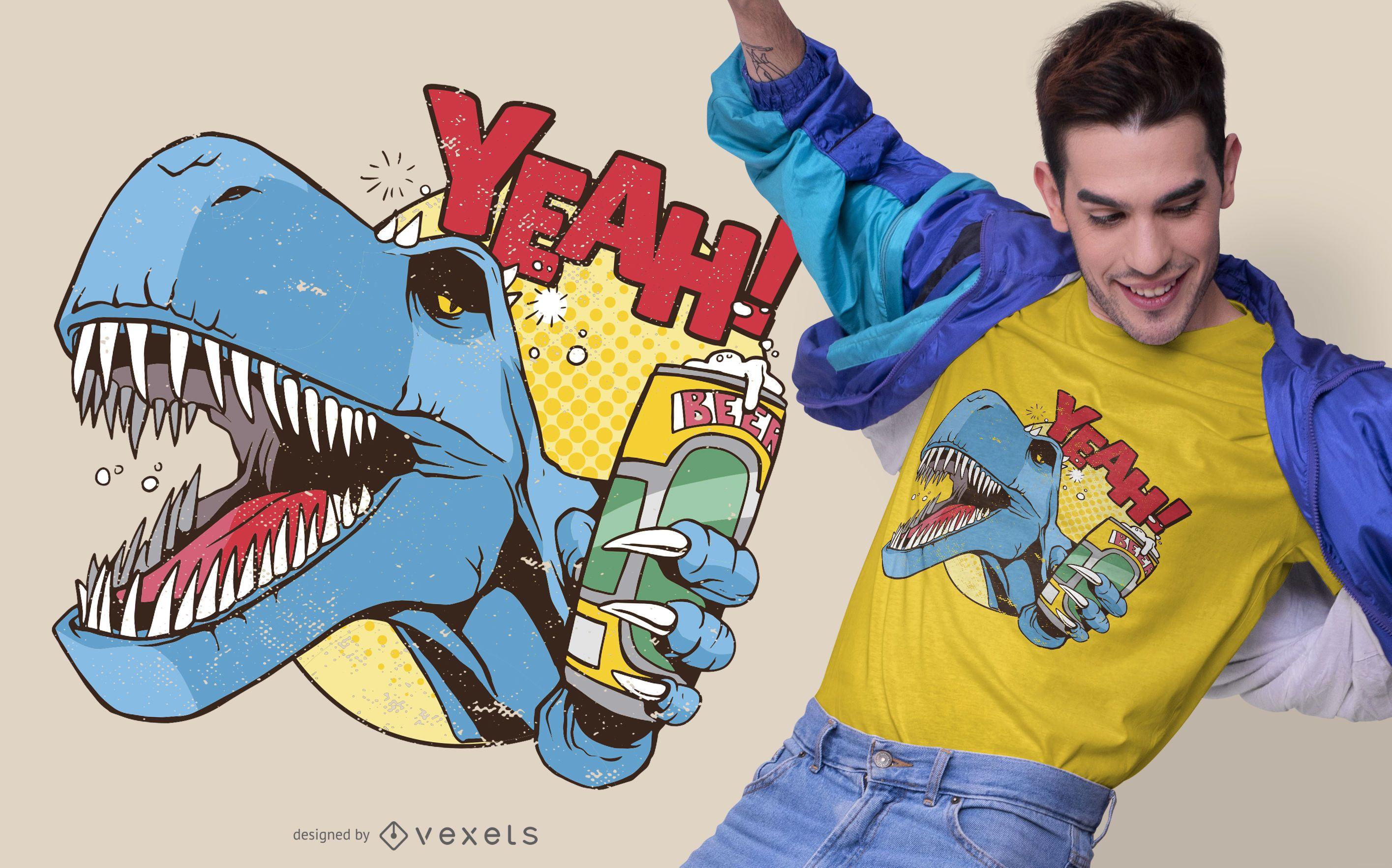 Diseño de camiseta Drunk Dino
