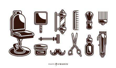 conjunto de elementos vintage barbeiro