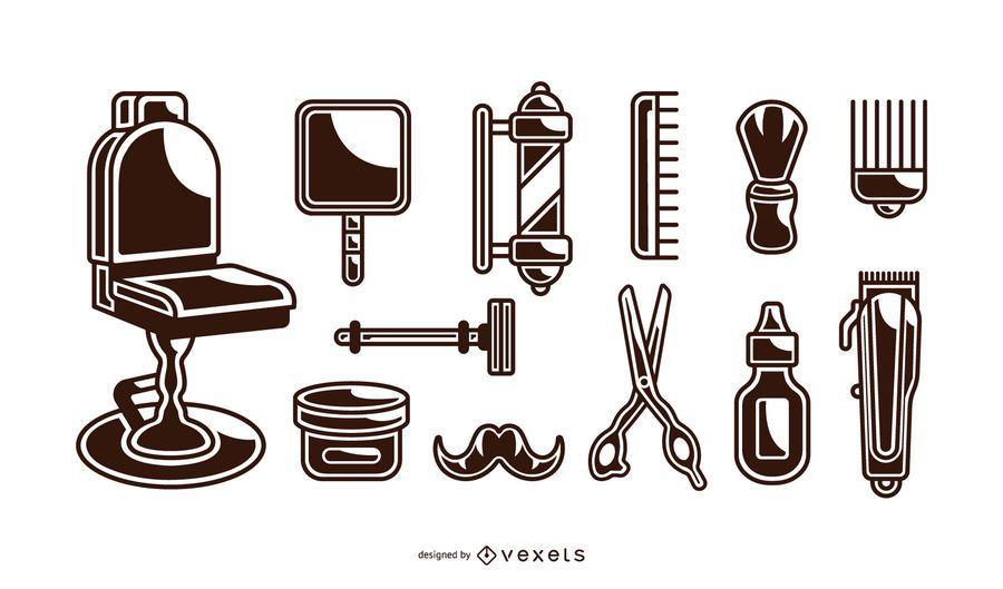 vintage barber elements set