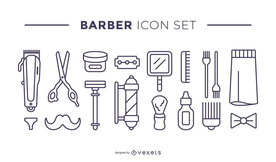 barber elements icon set