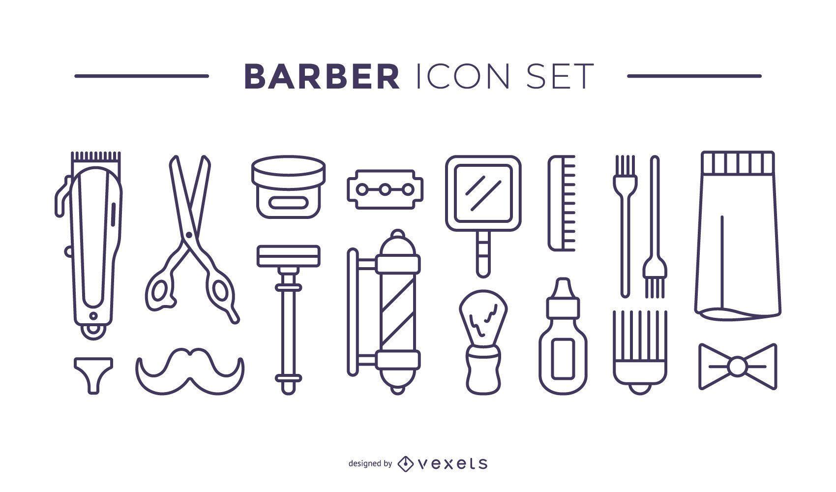 conjunto de ícones de elementos de barbeiro