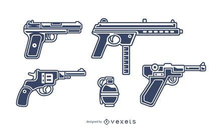 conjunto de ilustração de armas de fogo