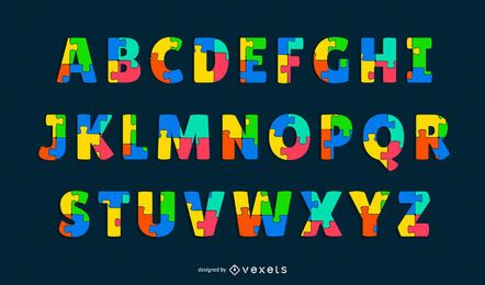 conjunto de letras del alfabeto rompecabezas