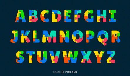 conjunto de letras do alfabeto de quebra-cabeça
