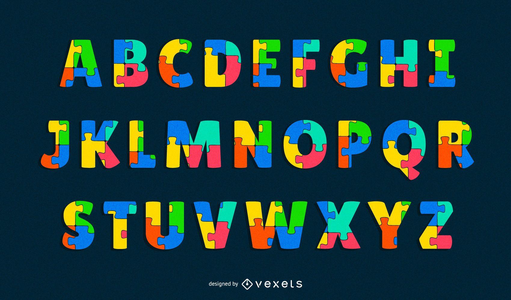conjunto de letras del alfabeto de rompecabezas