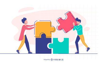 personas conectando ilustración de rompecabezas