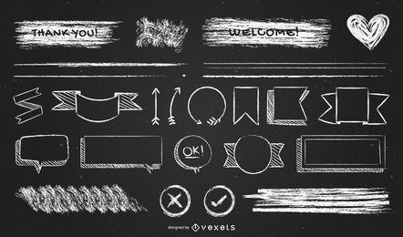 Paquete de diseño de elementos de tiza